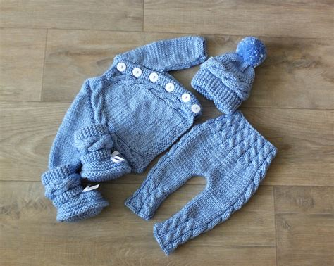 knit outfit knitted baby boy coming home knit baby etsy