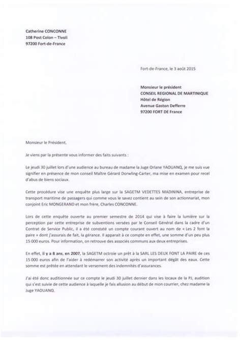Exemple De Lettre Sollicitation La Lettre De D 233 Mission Officielle De Catherine Conconne Bondamanjak Bondamanjak