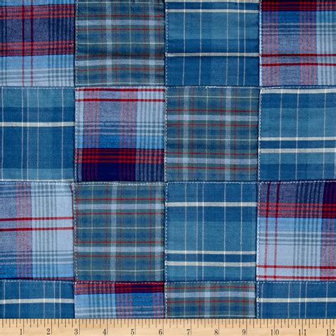 Plaid Patchwork - kaufman plaid patchwork blue discount designer fabric