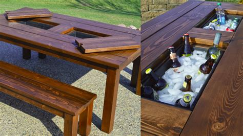 Patio Table With Cooler This Diy Patio Table Sports A Built In Drink Cooler