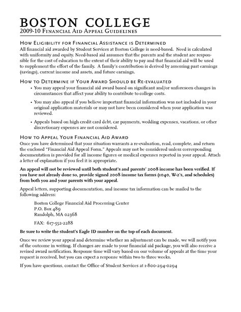 Exle Letter To Appeal Financial Aid writing a financial aid appeal letter for college 28