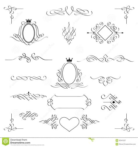 calligraphic design elements vector free set of calligraphic design elements vector stock vector