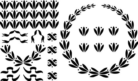 vintage clip art laurel wreath ribbons
