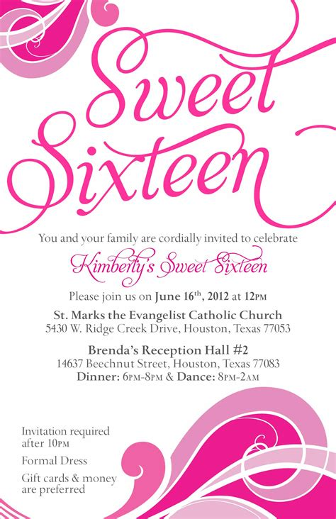 sweet 16 invitation card templates sweet sixteen invitation card invitation templates