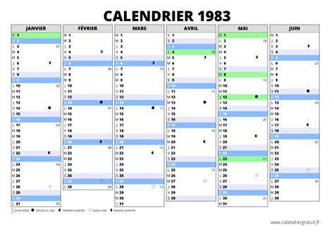 Calendrier De 1983 Calendrier 1983
