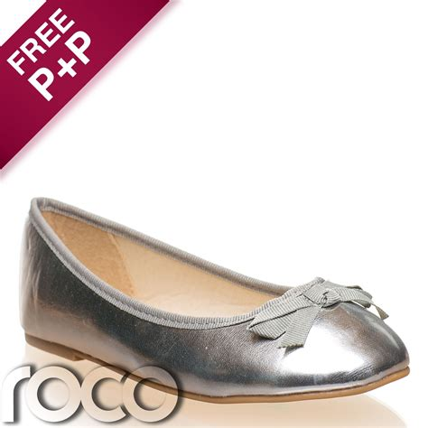 Silver Flats For Bridesmaids by Silver Ballet Shoes Flat Shoes Flower