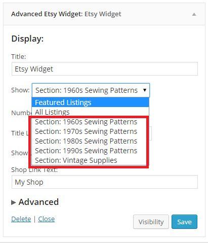 etsy shop sections advanced etsy widget by gavinr codecanyon
