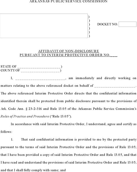 Free Arkansas Affidavit Of Non Disclosure Form Pdf 135kb 4 Page S Affidavit Of Non Service Template