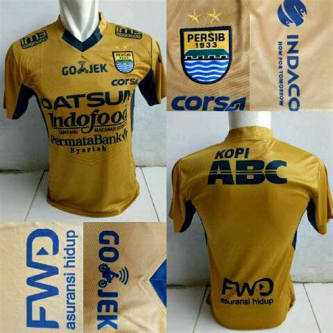Jersey Persib Bandung Away 3rd Gold 2017 Liga Gojek Traveloka jersey persib bandung away 2017 terbaru jersey bola grade ori murah