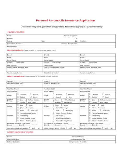 car application car insurance application form 2 free templates in pdf word excel download