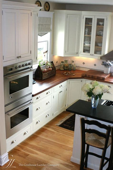 White Kitchen Cabinets And White Countertops Light Floor White Cabinets Wood Countertops Custom American Cherry Wood Countertop