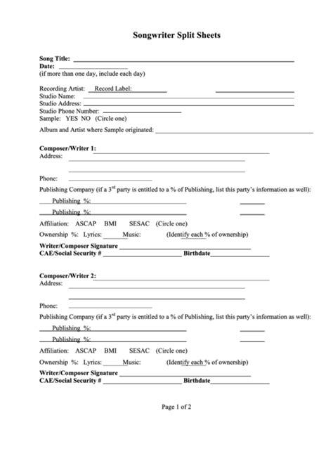 Songwriter Split Sheet Template Printable Pdf Download Songwriter Agreement Template