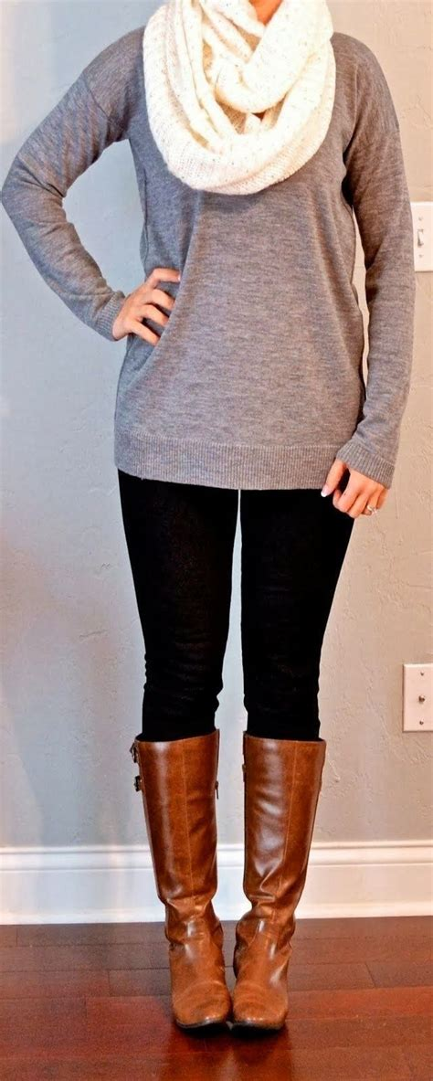 comfy style black tights white scarf grey blouse with
