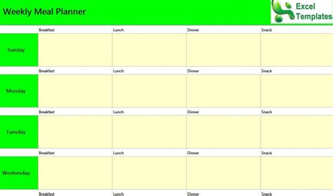 weekly meal planner excel template weekly meal planner