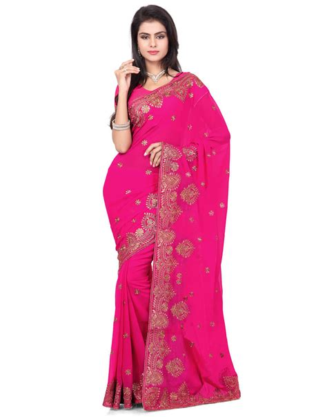 Rani Pink Colour | buy rani pink color faux georgette saree with blouse online