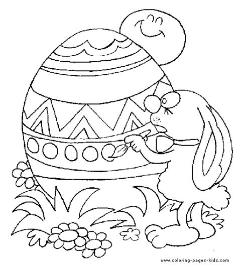 painting and coloring easter bunny painting an easter egg color page