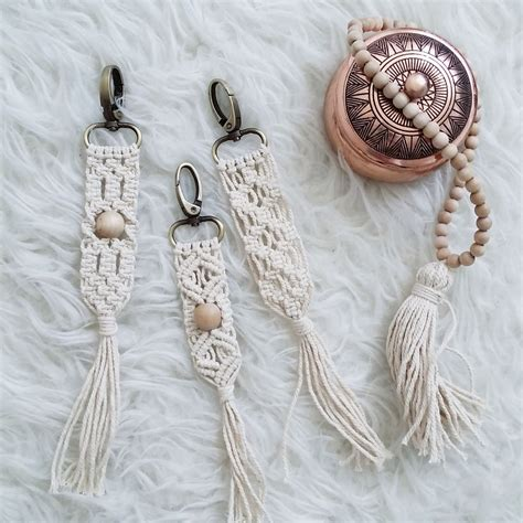 Macrame Accessories - made macrame keychain withtassle macrame accessories