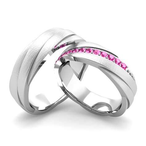 matching wedding bands pink sapphire rolling wedding ring