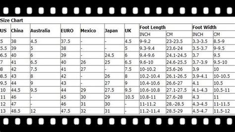shoe size chart china chinese to us shoe size chart original spongebob shoes
