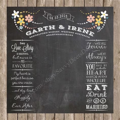 Wedding Backdrop Chalkboard wedding photo backdrop chalkboard printable complete custom