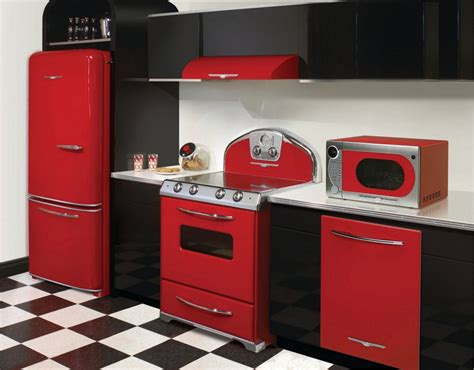 vintage style kitchen appliance fascinating retro kitchen design ideas with black and red