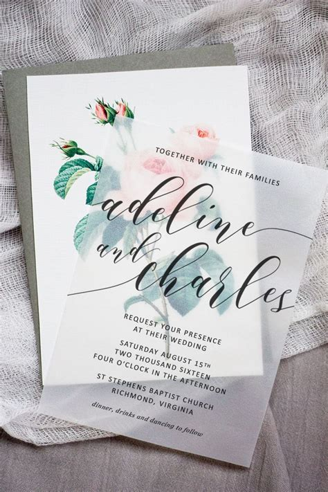 make these sweet floral wedding invitations using nothing - Wedding Invitations Using Vellum Paper