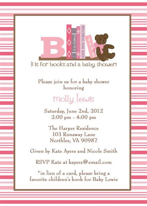 In Lieu Of A Card Bring A Book Baby Shower by The World S Catalog Of Ideas
