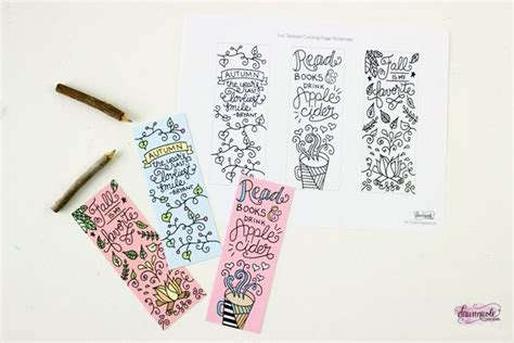 printable bookmarks fall free printable fall coloring page bookmarks dawn nicole