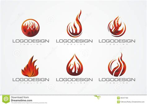 Fire Set 1 Logo Design Stock Illustration Image Of Logodesign 66447180 Illustrator Logo Templates
