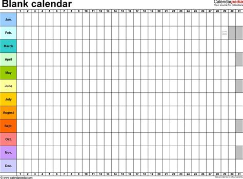 Detailed Monthly Calendar Template