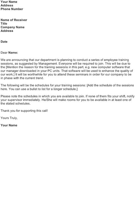 certification announcement letter employee session announcement letter