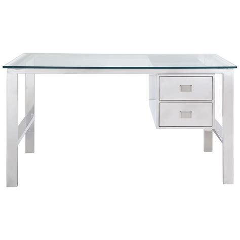 The Room 2 Desk Drawers by Modern Classic Stainless Steel 2 Drawer Desk