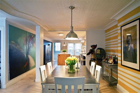 funky dining room chairs with eclectic pressed tin ceiling