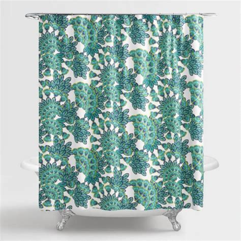 Blue And Green Kitchen Curtains Blue And Green Peacock Shower Curtain World Market
