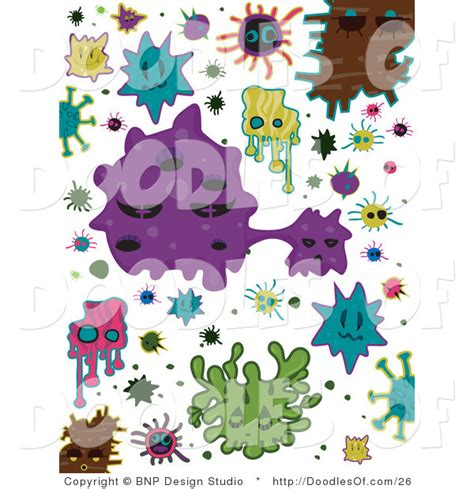doodle virus vector clipart of colorful virus doodles by bnp design