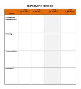 Grading Rubric Template Word by Sle Blank Rubric 9 Documents In Word Pdf