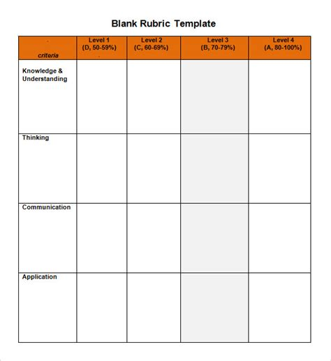 blank rubric template sle blank rubric 9 documents in word pdf