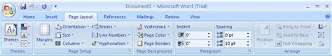 page layout ribbon definition change the page size page 171 style formatting 171 microsoft