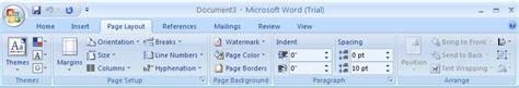Page Layout Ribbon Word 2007 | change the page size page 171 style formatting 171 microsoft