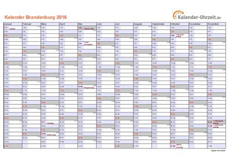 Kalender 2016 Kalenderwochen Feiertage 2016 Brandenburg Kalender