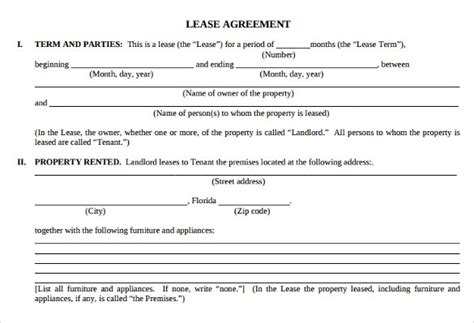 Appartment Lease by Sle Apartment Lease Agreement 6 Documents In Word Pdf