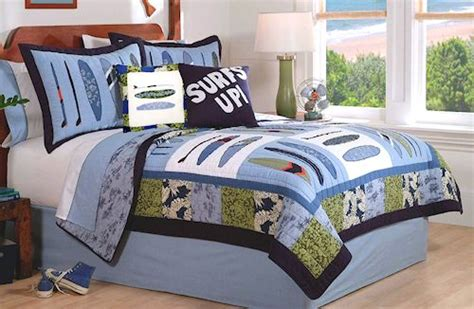 Ocean Surf Boards Hawaiian Print Blue Surfing Sports Hawaiian Print Bedding Sets