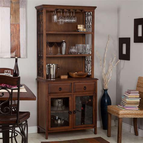 dark oak wood finish bakers rack server with wine storage