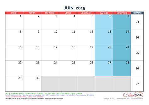 Calendrier Juin 2015 Calendrier Mensuel Mois De Juin 2015 Avec Jours F 233 Ri 233 S