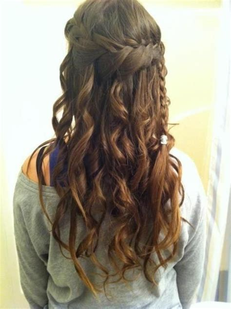 prom hairstyles brown hair amazing long brown curly braided homecoming and prom