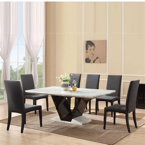 white marble dining table   grey dining chairs