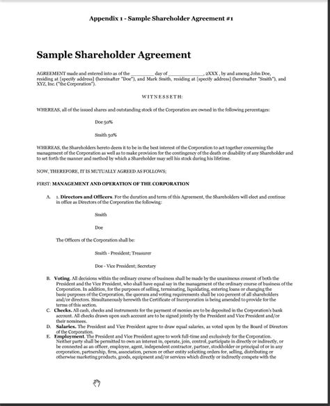 shareholders agreement form sle images