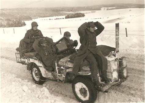 ww2 german jeep ww2 signal corps bulge photo captured germans gis willys