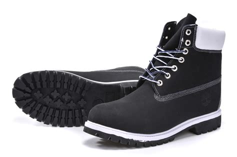 timberland mens authentic 6 inch boot black white