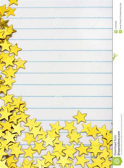 printable lined paper with star border gold star border stock image image of background blue